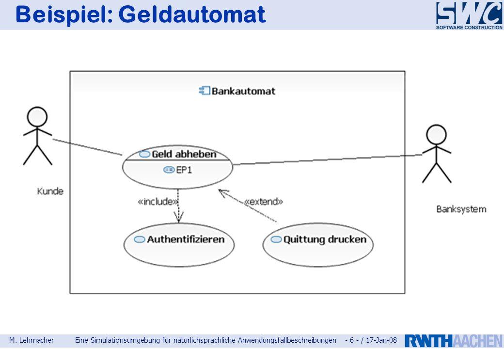 M. LehmacherEine Simulationsumgebung für natürlichsprachliche Anwendungsfallbeschreibungen - 6 - / 17-Jan-08 Beispiel: Geldautomat