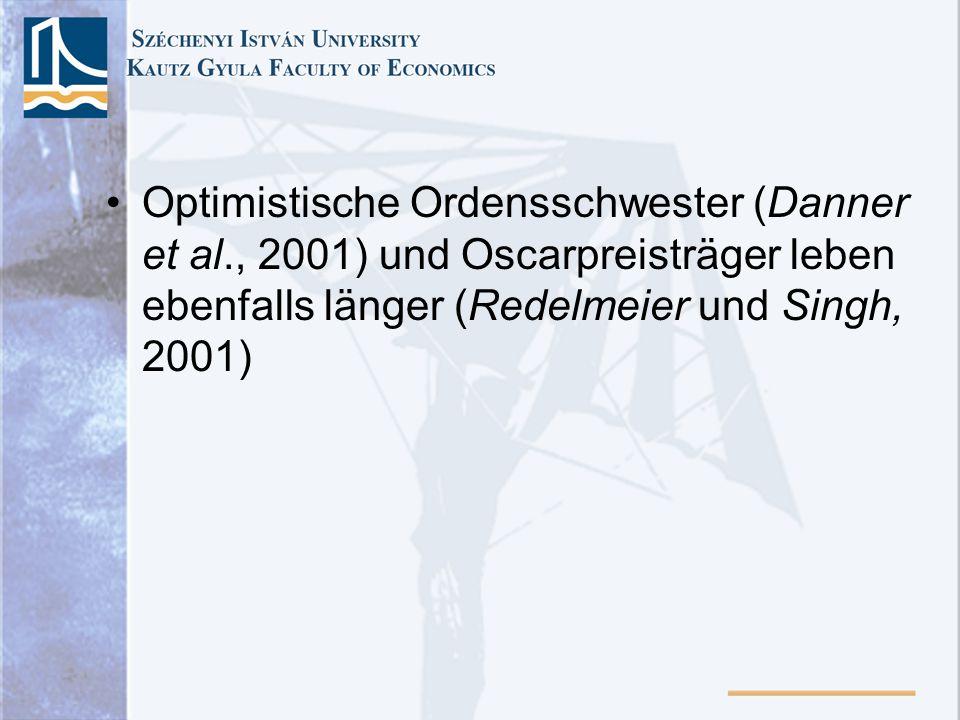 Optimistische Ordensschwester (Danner et al., 2001) und Oscarpreisträger leben ebenfalls länger (Redelmeier und Singh, 2001)