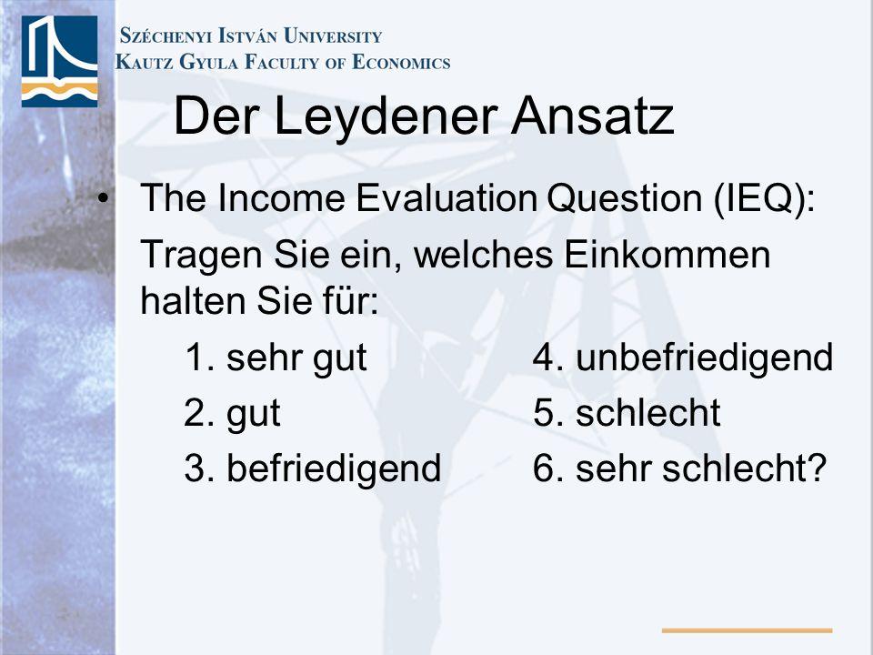 Der Leydener Ansatz The Income Evaluation Question (IEQ): Tragen Sie ein, welches Einkommen halten Sie für: 1. sehr gut4. unbefriedigend 2. gut5. schl
