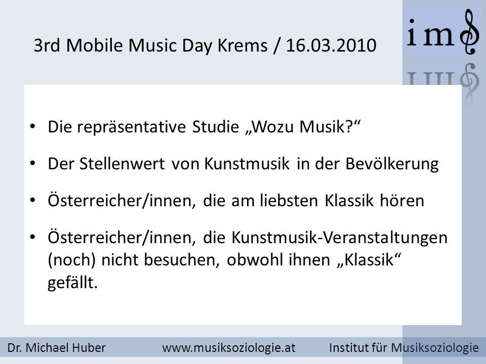 3rd Mobile Music Day Krems / 16.03.2010 Dr. Michael Huber www.musiksoziologie.at Institut für Musiksoziologie Die repräsentative Studie Wozu Musik? De