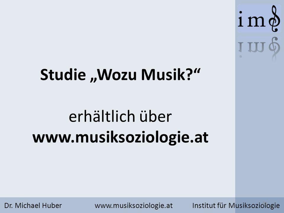 Studie Wozu Musik? erhältlich über www.musiksoziologie.at Dr. Michael Huber www.musiksoziologie.at Institut für Musiksoziologie 33