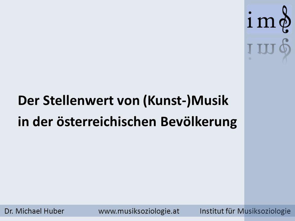 Dr. Michael Huber www.musiksoziologie.at Institut für Musiksoziologie Der Stellenwert von (Kunst-)Musik in der österreichischen Bevölkerung