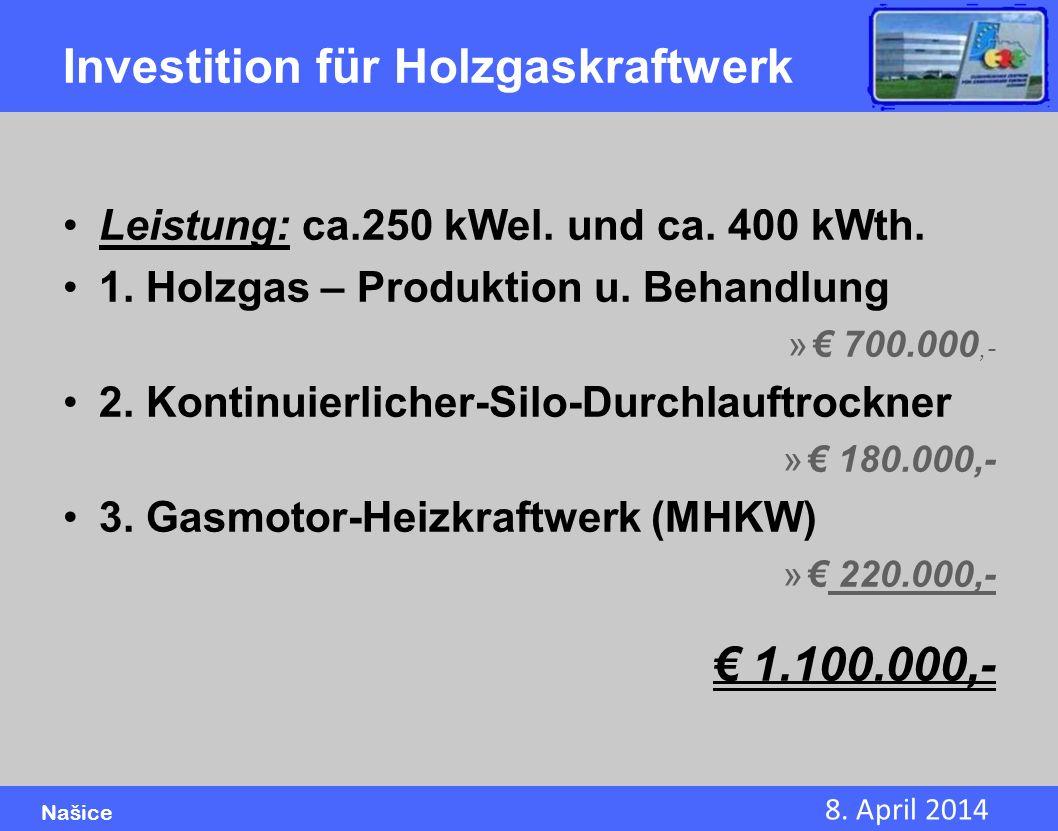 8. April 2014 Našice Investition für Holzgaskraftwerk Leistung: ca.250 kWel. und ca. 400 kWth. 1. Holzgas – Produktion u. Behandlung » 700.000,- 2. Ko