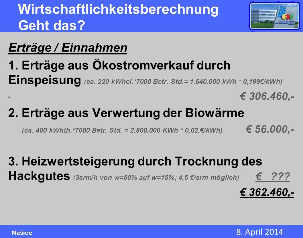 8. April 2014 Našice Wirtschaftlichkeitsberechnung Geht das? Erträge / Einnahmen 1. Erträge aus Ökostromverkauf durch Einspeisung (ca. 220 kWhel.*7000
