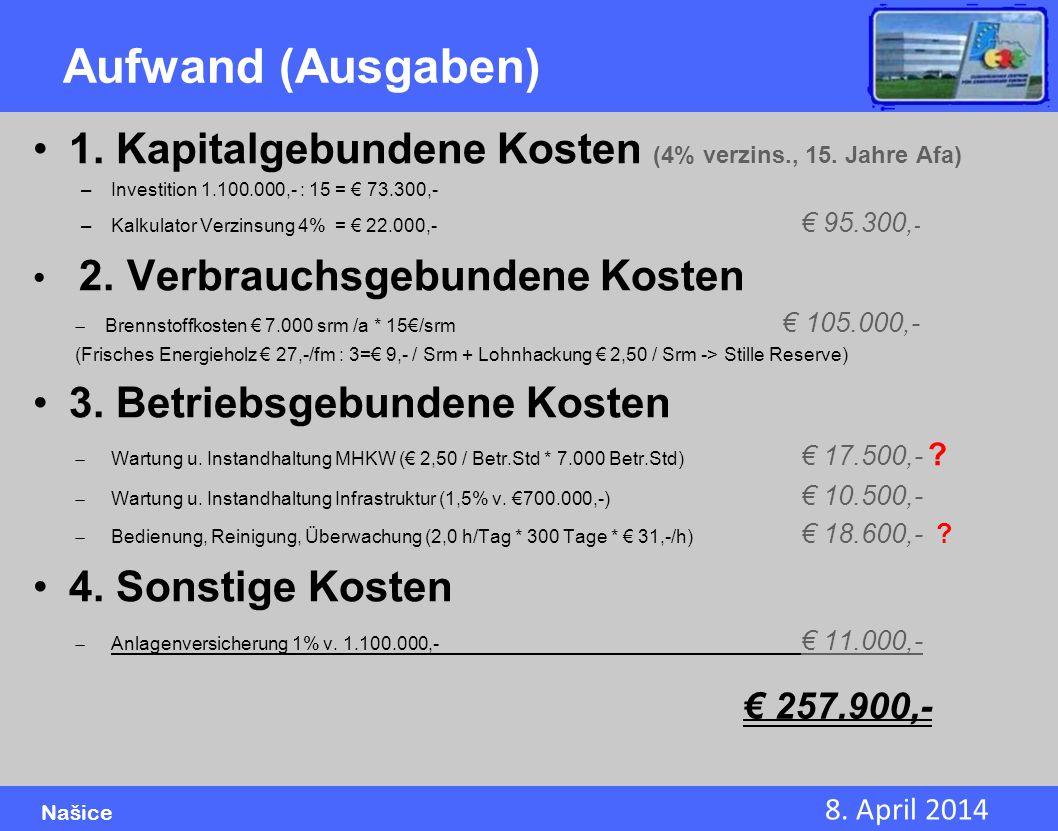 8. April 2014 Našice Aufwand (Ausgaben) 1. Kapitalgebundene Kosten (4% verzins., 15. Jahre Afa) –Investition 1.100.000,- : 15 = 73.300,- –Kalkulator V