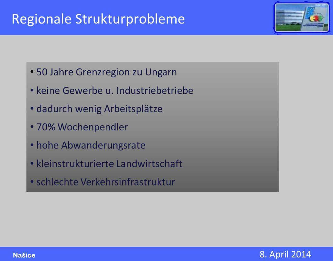 8. April 2014 Našice 50 Jahre Grenzregion zu Ungarn keine Gewerbe u. Industriebetriebe dadurch wenig Arbeitsplätze 70% Wochenpendler hohe Abwanderungs
