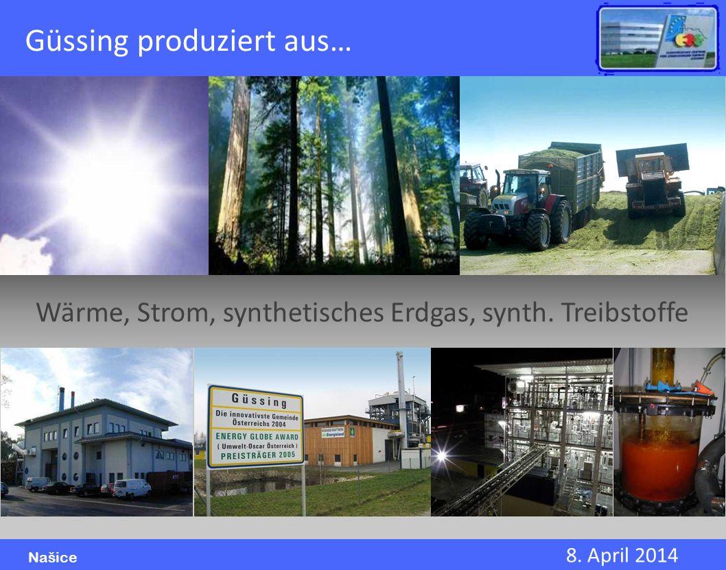 8. April 2014 Našice Güssing produziert aus… Wärme, Strom, synthetisches Erdgas, synth. Treibstoffe