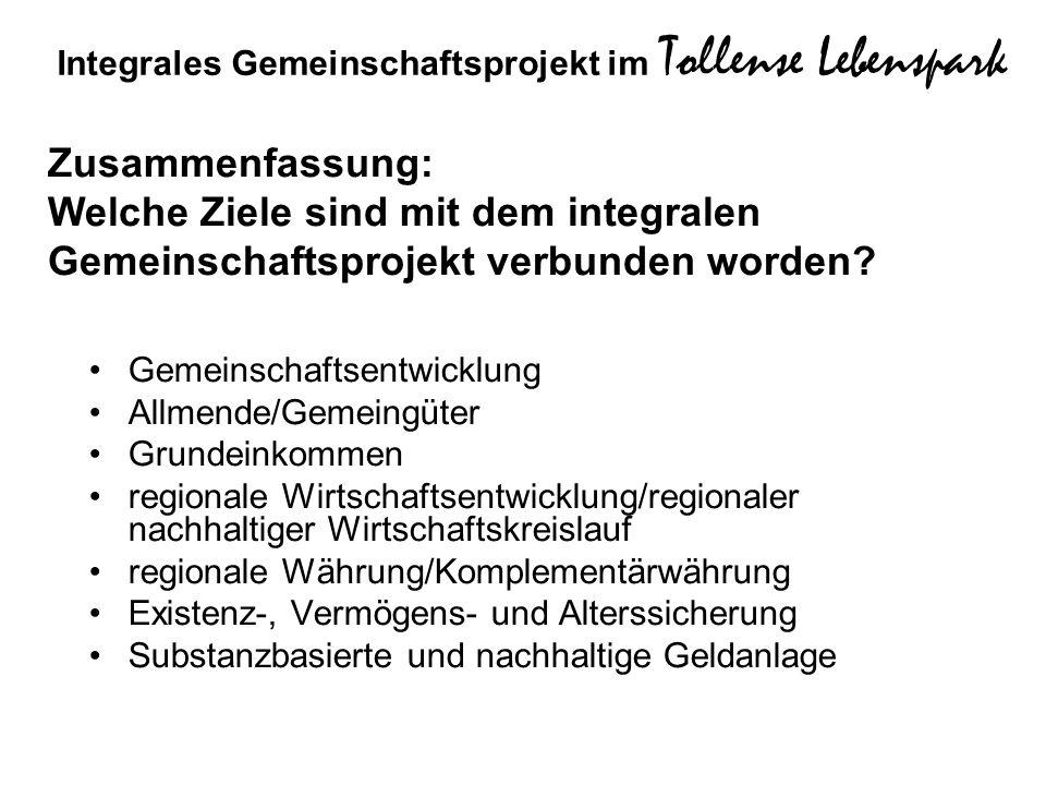 Gemeinschaftsentwicklung Allmende/Gemeingüter Grundeinkommen regionale Wirtschaftsentwicklung/regionaler nachhaltiger Wirtschaftskreislauf regionale W