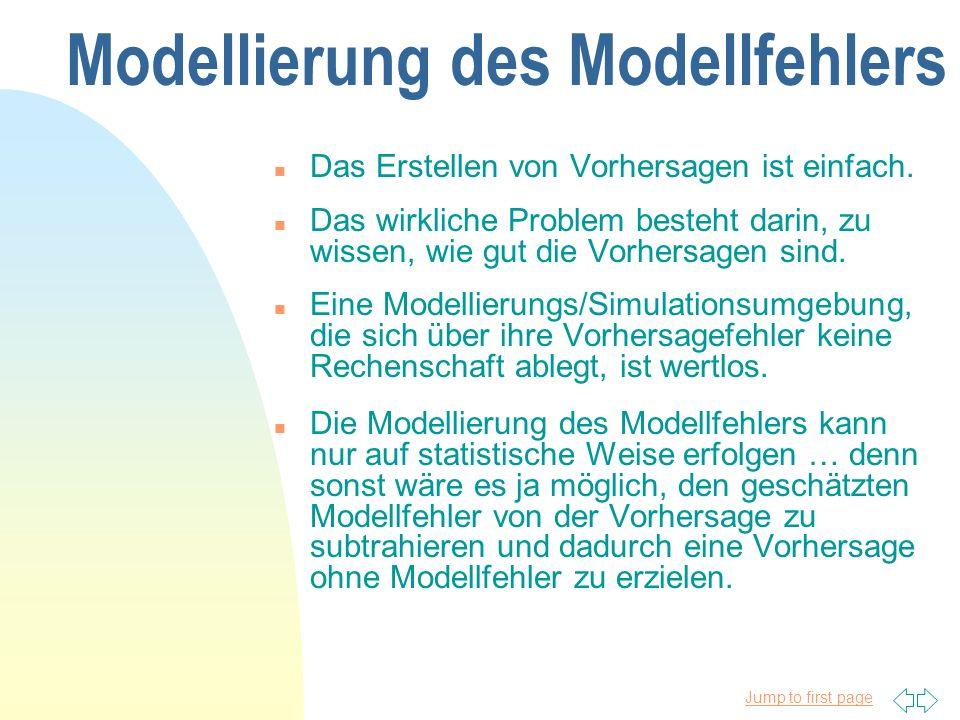 Jump to first page Modellierung des Modellfehlers n Das Erstellen von Vorhersagen ist einfach.