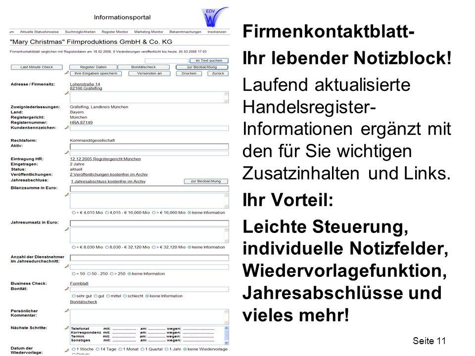 Seite 11 Firmenkontaktblatt- Ihr lebender Notizblock.