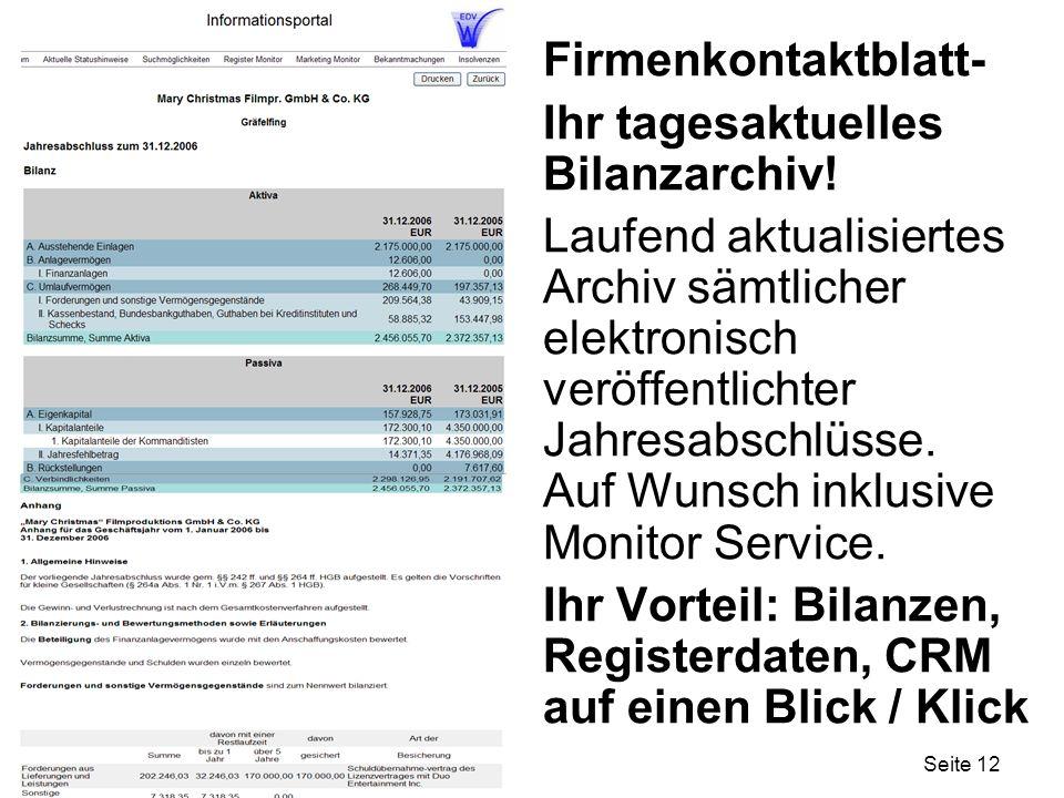 Seite 12 Firmenkontaktblatt- Ihr tagesaktuelles Bilanzarchiv! Laufend aktualisiertes Archiv sämtlicher elektronisch veröffentlichter Jahresabschlüsse.