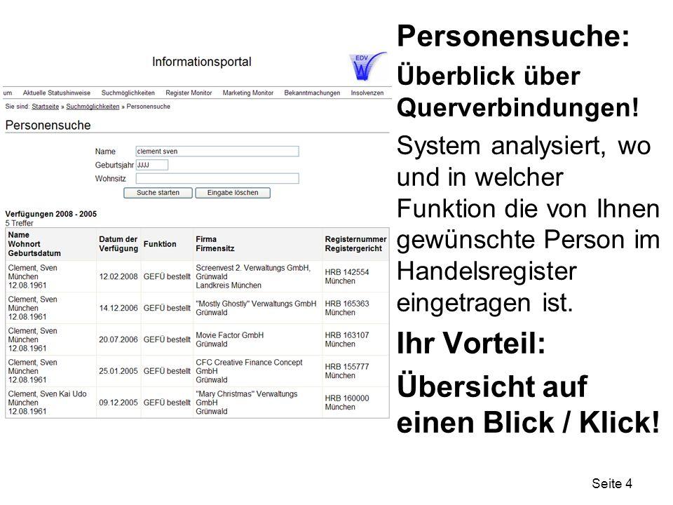 Seite 4 Personensuche: Überblick über Querverbindungen.