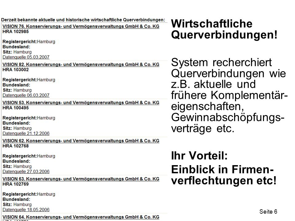 Seite 6 Wirtschaftliche Querverbindungen! System recherchiert Querverbindungen wie z.B. aktuelle und frühere Komplementär- eigenschaften, Gewinnabschö