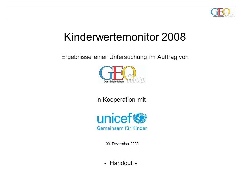 1 Kinderwertemonitor 2008 Ergebnisse einer Untersuchung im Auftrag von 03.
