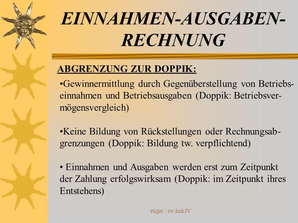 züger / rw.hak IV EINNAHMEN-AUSGABEN- RECHNUNG ABGRENZUNG ZUR DOPPIK: Gewinnermittlung durch Gegenüberstellung von Betriebs- einnahmen und Betriebsaus