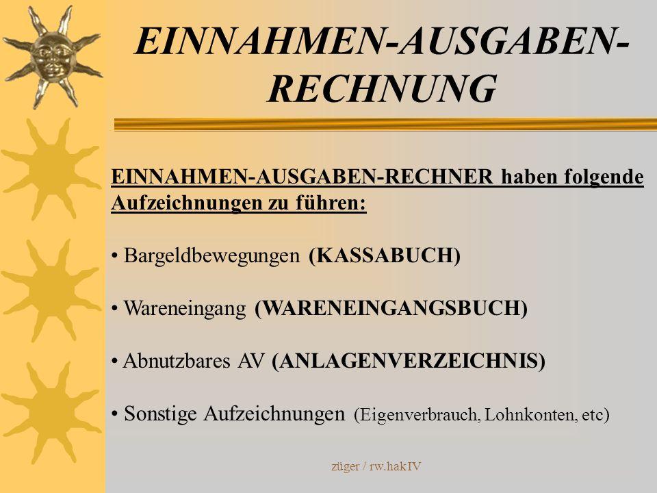 züger / rw.hak IV EINNAHMEN-AUSGABEN- RECHNUNG EINNAHMEN-AUSGABEN-RECHNER haben folgende Aufzeichnungen zu führen: Bargeldbewegungen (KASSABUCH) Waren