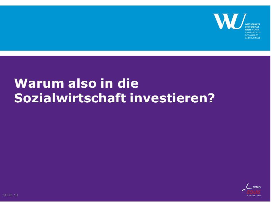 Warum also in die Sozialwirtschaft investieren? SEITE 18