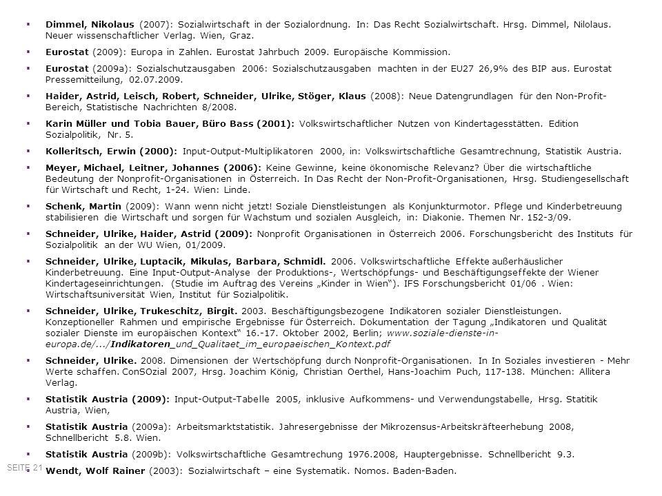 Referenzen Dimmel, Nikolaus (2007): Sozialwirtschaft in der Sozialordnung. In: Das Recht Sozialwirtschaft. Hrsg. Dimmel, Nilolaus. Neuer wissenschaftl