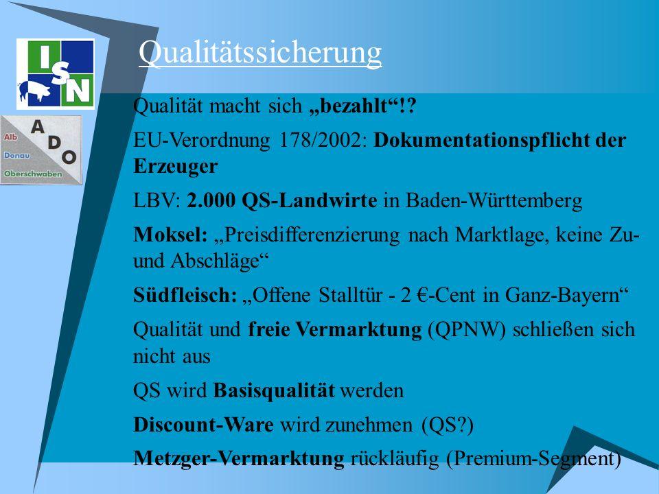 Qualitätssicherung Qualität macht sich bezahlt!? EU-Verordnung 178/2002: Dokumentationspflicht der Erzeuger LBV: 2.000 QS-Landwirte in Baden-Württembe