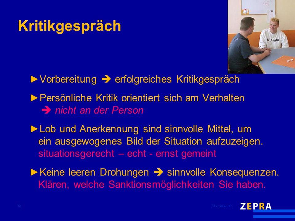 03.27.2006, SR 12 Kritikgespräch Vorbereitung erfolgreiches Kritikgespräch Persönliche Kritik orientiert sich am Verhalten nicht an der Person Lob und