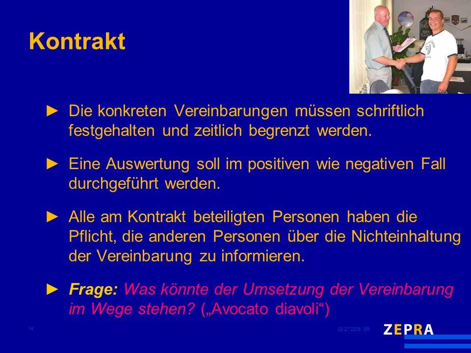 03.27.2006, SR 14 Kontrakt Die konkreten Vereinbarungen müssen schriftlich festgehalten und zeitlich begrenzt werden. Eine Auswertung soll im positive