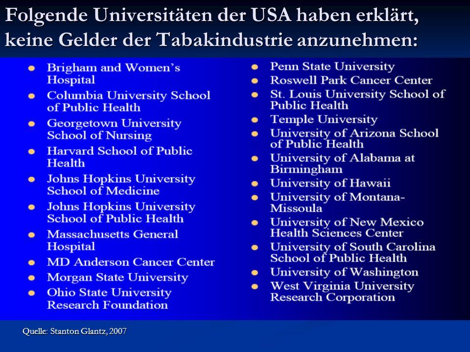 Folgende Universitäten der USA haben erklärt, keine Gelder der Tabakindustrie anzunehmen: Quelle: Stanton Glantz, 2007