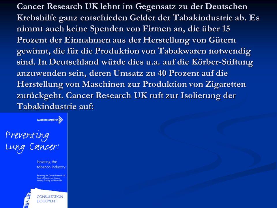 Cancer Research UK lehnt im Gegensatz zu der Deutschen Krebshilfe ganz entschieden Gelder der Tabakindustrie ab. Es nimmt auch keine Spenden von Firme