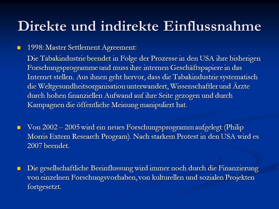 Direkte und indirekte Einflussnahme 1998: Master Settlement Agreement: 1998: Master Settlement Agreement: Die Tabakindustrie beendet in Folge der Proz