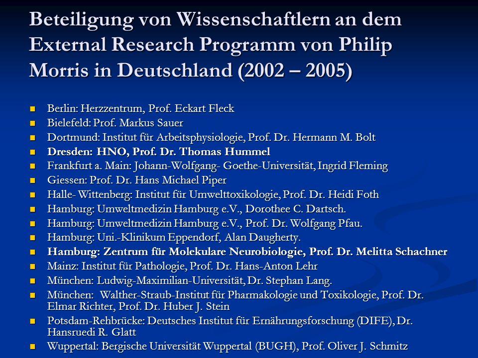 Beteiligung von Wissenschaftlern an dem External Research Programm von Philip Morris in Deutschland (2002 – 2005) Berlin: Herzzentrum, Prof. Eckart Fl