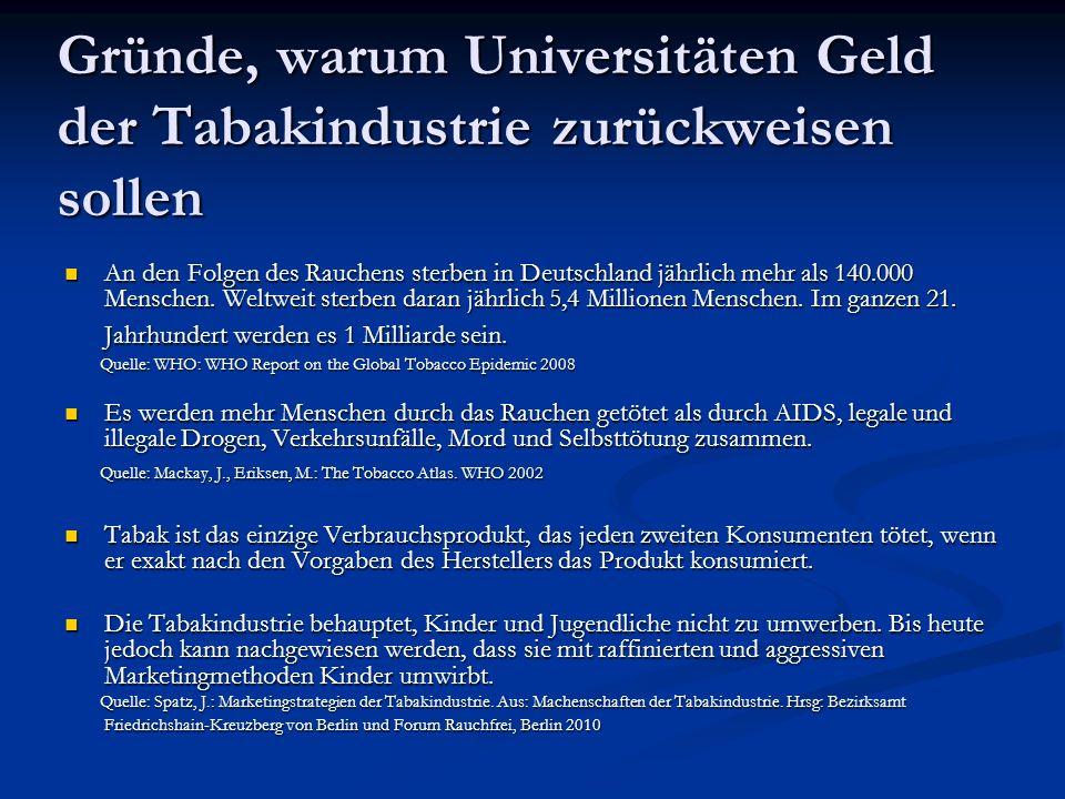 Weitere Gründe, warum Universitäten Geld der Tabakindustrie zurückweisen sollen Die Tabakindustrie versucht, Vertreter der medizinischen Forschung durch die Finanzierung von Forschungsvorhaben an sich zu binden.