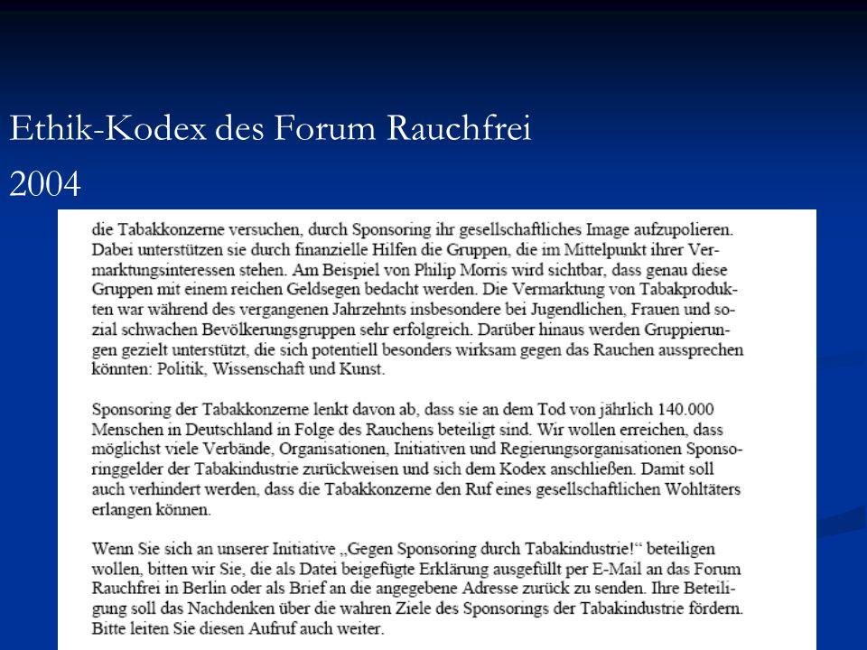 Der Ethik-Kodex des Forum Rauchfrei wurde seit 2004 von über 50 Organisationen unterschrieben: Universitäten Berlin School of Public Health, Charité.
