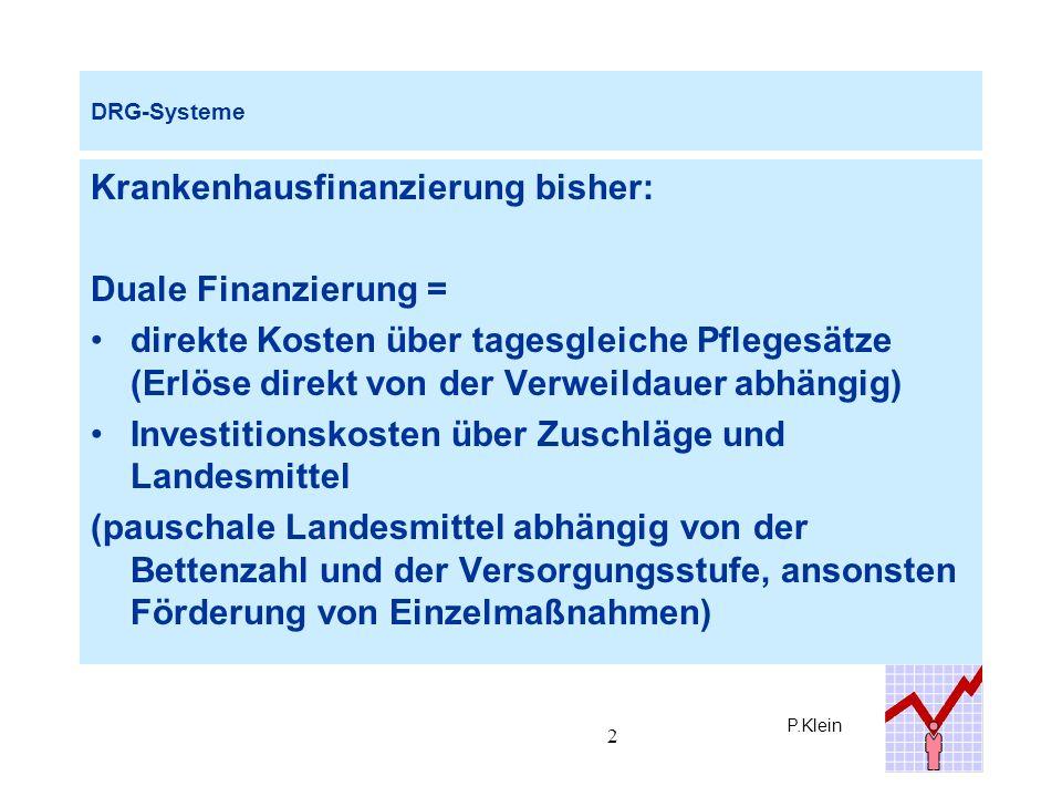 P.Klein 33 AR-DRG-System : Budgetkalkulation Beispiel LBK Hamburg Haus AHaus BHaus C Kosten stat.