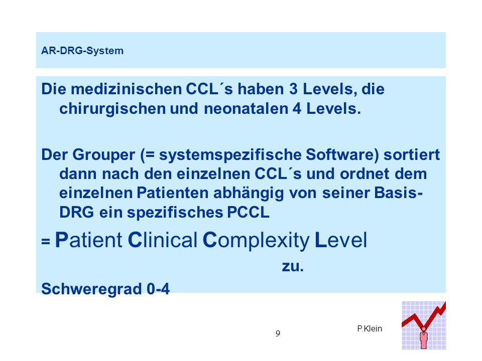 P.Klein 10 AR-DRG-System Mit zunehmender Diagnosenanzahl steigt das PCCL kontinuierlich an (bis ungefähr 10 Diagnosen linear, dann abflachende Kurve).
