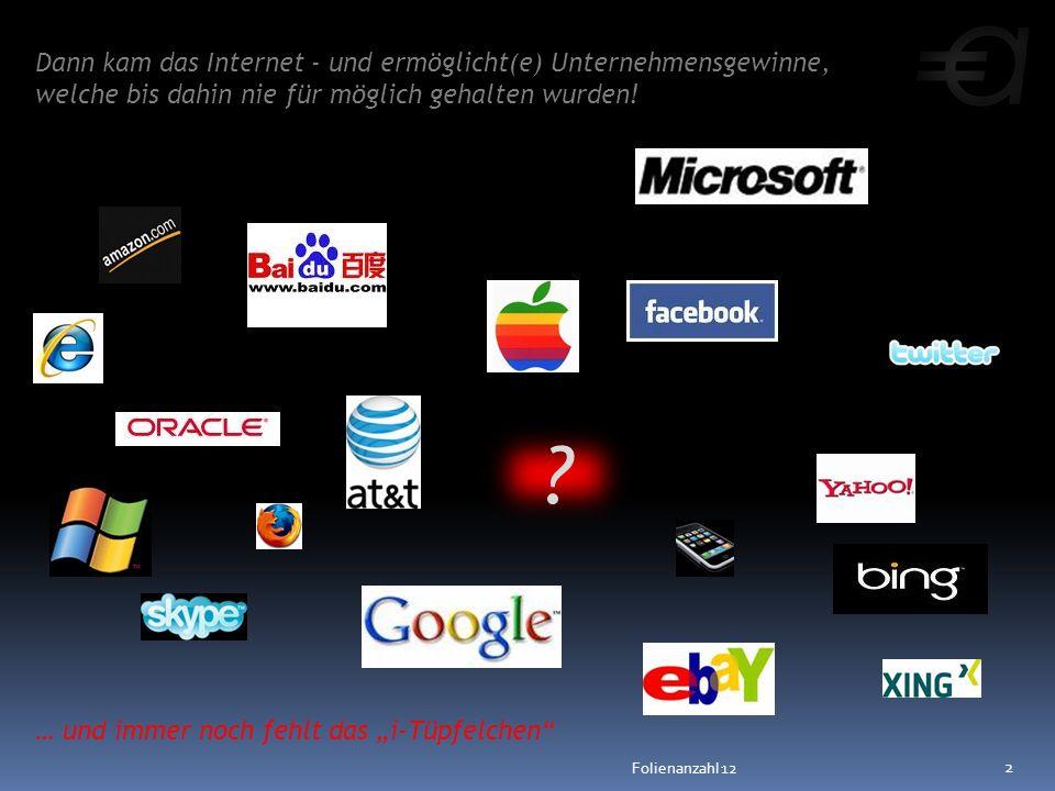 Dann kam das Internet - und ermöglicht(e) Unternehmensgewinne, welche bis dahin nie für möglich gehalten wurden! … und immer noch fehlt das i-Tüpfelch