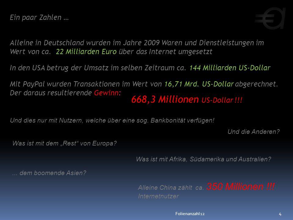 Ein paar Zahlen … Alleine in Deutschland wurden im Jahre 2009 Waren und Dienstleistungen im Wert von ca. 22 Milliarden Euro über das Internet umgesetz