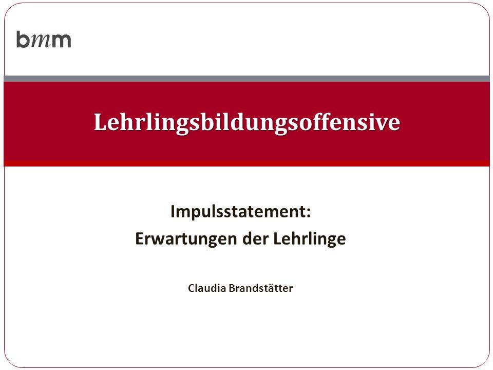 Impulsstatement: Erwartungen der Lehrlinge Claudia Brandstätter Lehrlingsbildungsoffensive
