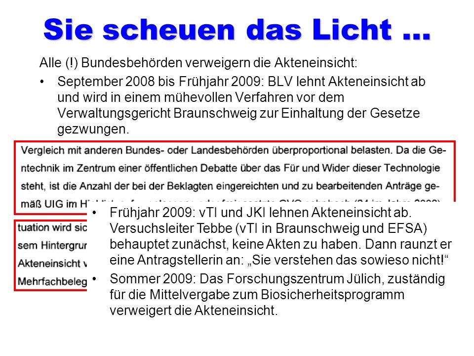 Die Zuständigen für alle Freisetzungen! Ihre Quote: 100 Prozent genehmigt! Dr. Hans-Jörg Buhk Leiter der Gentechnikabteilung des BVL. Unterzeichner un
