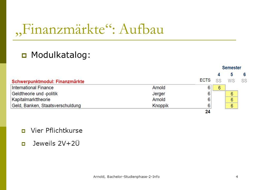 Arnold, Bachelor-Studienphase-2-Info4 Finanzmärkte: Aufbau Modulkatalog: Vier Pflichtkurse Jeweils 2V+2Ü
