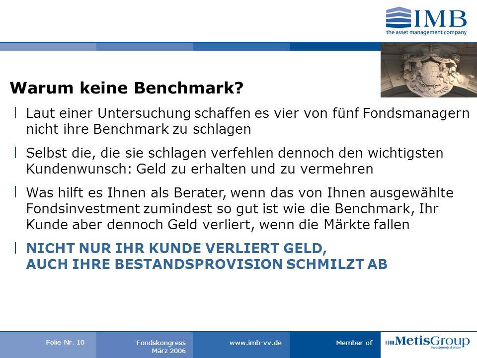 Folie Nr. 9 Member ofwww.imb-vv.deFondskongress März 2006 Warum keine Benchmark.