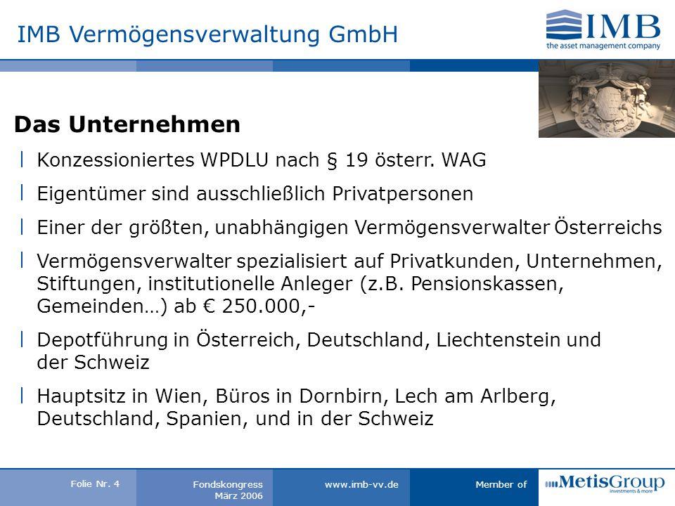 Folie Nr. 3 Member ofwww.imb-vv.deFondskongress März 2006 IMB Vermögensverwaltung GmbH