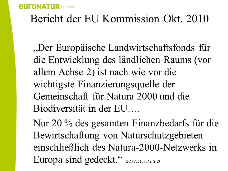Bericht der EU Kommission Okt. 2010 Der Europäische Landwirtschaftsfonds für die Entwicklung des ländlichen Raums (vor allem Achse 2) ist nach wie vor