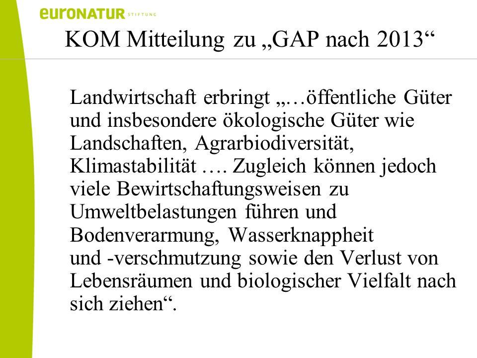 KOM Mitteilung zu GAP nach 2013 Landwirtschaft erbringt …öffentliche Güter und insbesondere ökologische Güter wie Landschaften, Agrarbiodiversität, Kl
