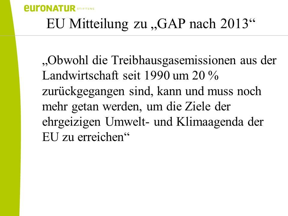 EU Mitteilung zu GAP nach 2013 Obwohl die Treibhausgasemissionen aus der Landwirtschaft seit 1990 um 20 % zurückgegangen sind, kann und muss noch mehr