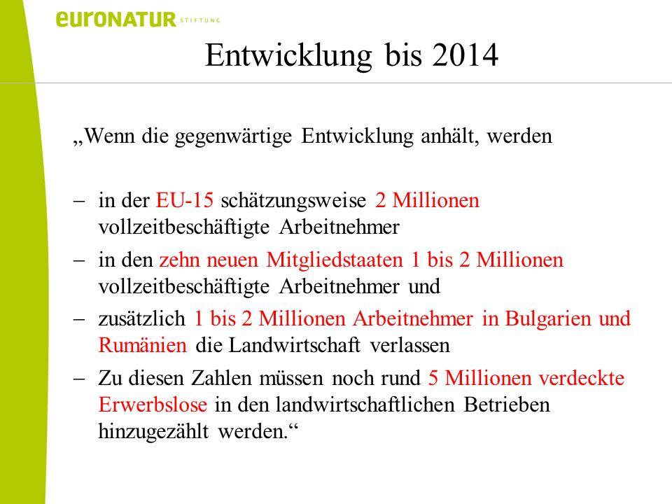 Entwicklung bis 2014 Wenn die gegenwärtige Entwicklung anhält, werden in der EU-15 schätzungsweise 2 Millionen vollzeitbeschäftigte Arbeitnehmer in de