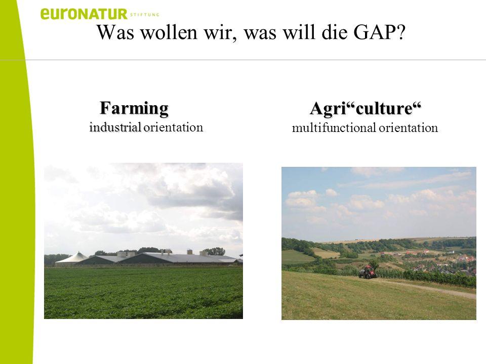 Was wollen wir, was will die GAP?Farming industrial o industrial orientation Agriculture multifunctional orientation