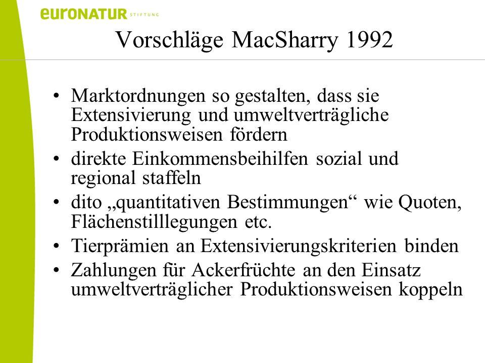 Vorschläge MacSharry 1992 Marktordnungen so gestalten, dass sie Extensivierung und umweltverträgliche Produktionsweisen fördern direkte Einkommensbeih