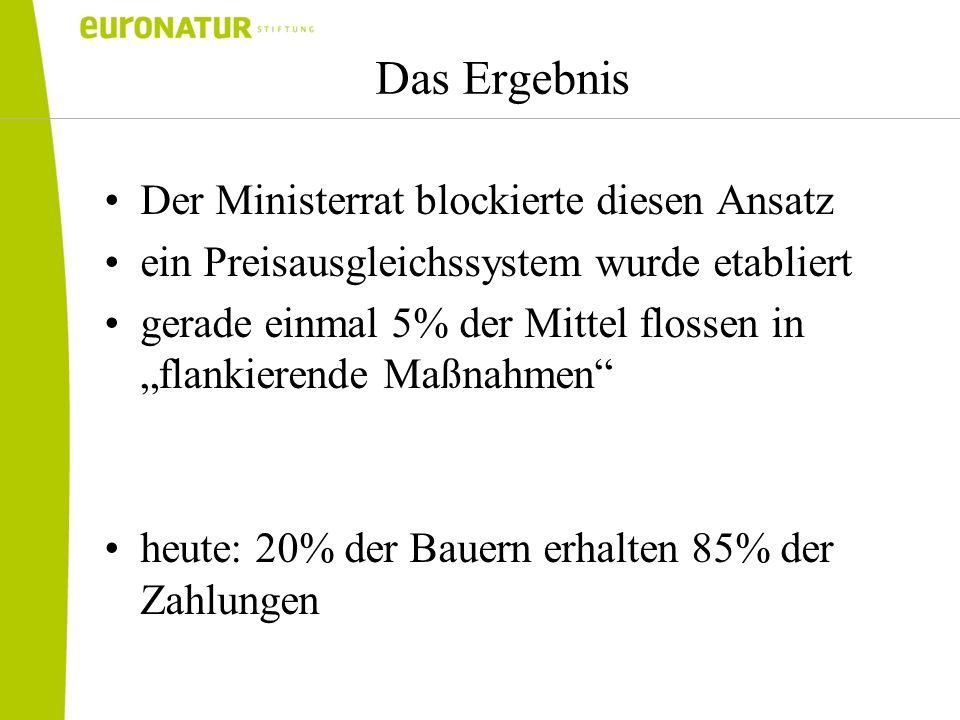 Das Ergebnis Der Ministerrat blockierte diesen Ansatz ein Preisausgleichssystem wurde etabliert gerade einmal 5% der Mittel flossen in flankierende Ma