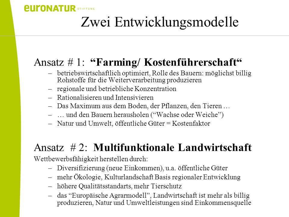 Zwei Entwicklungsmodelle Ansatz # 1: Farming/ Kostenführerschaft –betriebswirtschaftlich optimiert, Rolle des Bauern: möglichst billig Rohstoffe für d