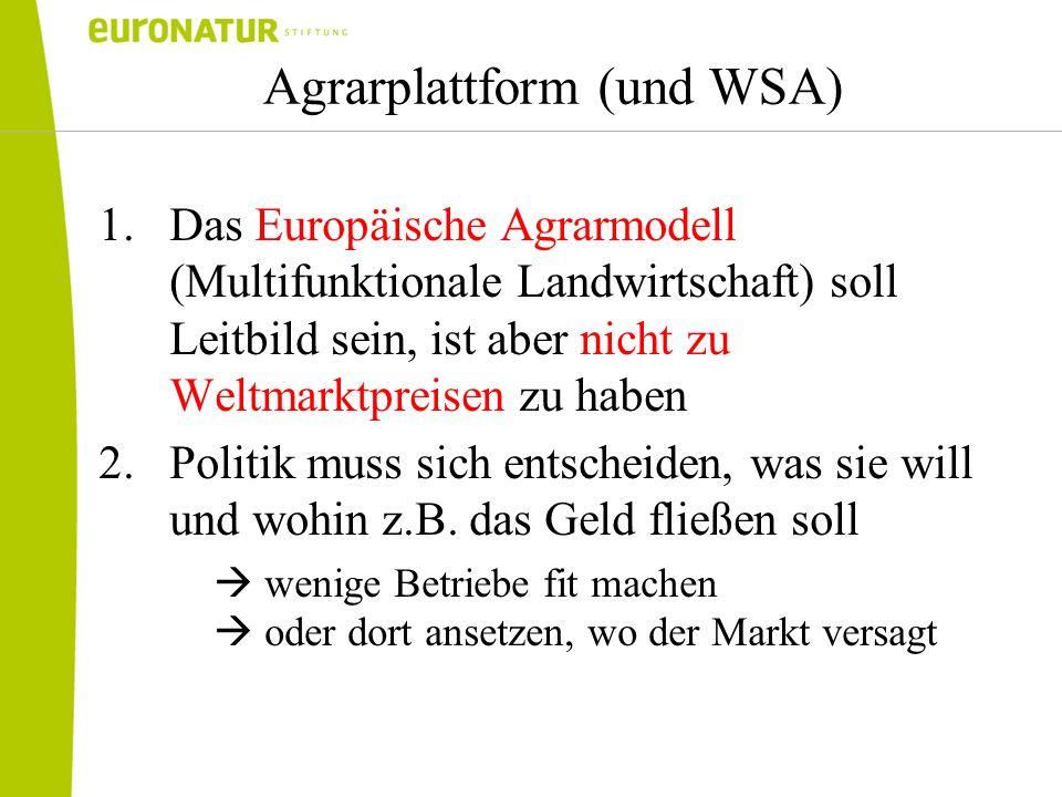Agrarplattform (und WSA) 1.Das Europäische Agrarmodell (Multifunktionale Landwirtschaft) soll Leitbild sein, ist aber nicht zu Weltmarktpreisen zu hab