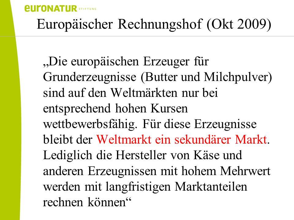 Europäischer Rechnungshof (Okt 2009) Die europäischen Erzeuger für Grunderzeugnisse (Butter und Milchpulver) sind auf den Weltmärkten nur bei entsprec